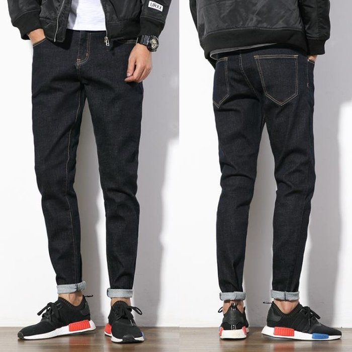 牛仔褲 牛仔褲男修身直筒小腳冬季男生休閒彈力原色男士長褲子潮流