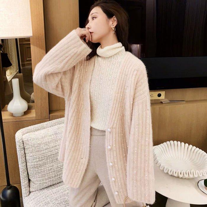 ❤JM SHOP韓風❤工藝品般的羊駝毛純手工珍珠釘珠開衫