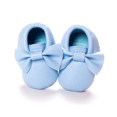 森林寶貝屋~藍色蝴蝶結流蘇軟底鞋~學步...