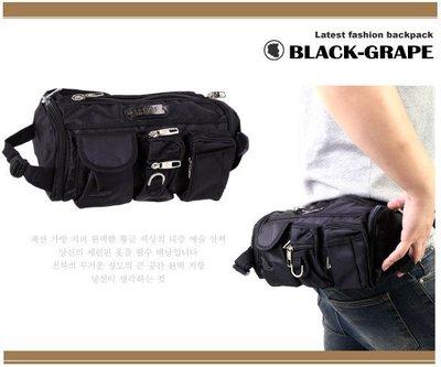 韓國高密度帆布料帥氣時尚掛包/腿包 休閒運動男女適用【C1067】黑葡萄包包