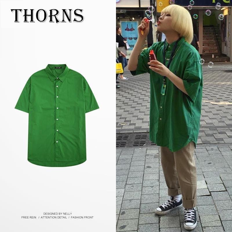 【THORNS】春夏新款韓國ins同款原宿風復古工裝綠色街頭外搭襯衫外套男女