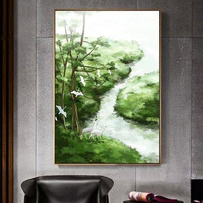C - R - A - Z - Y - T - O - W - N 綠色樹林草原麋鹿燕子掛畫紅藍玄關裝飾畫新中式水墨掛畫