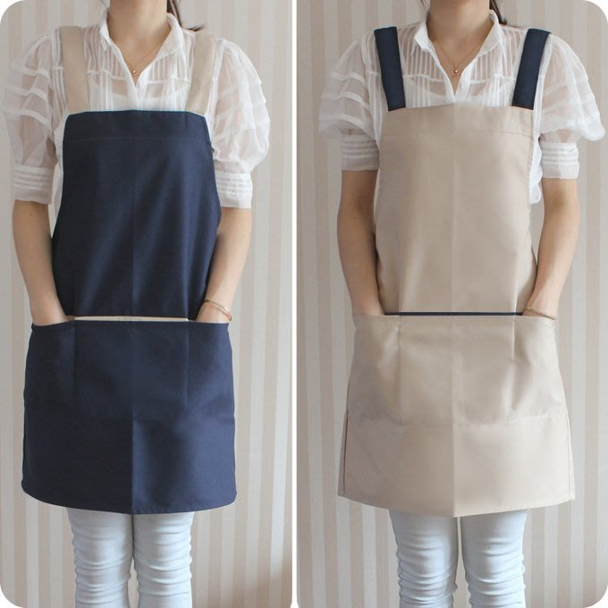 韓系圍裙 H型 雙色優雅素面 背後鈕扣式 │廚房圍裙、清潔打掃、工作服、美甲