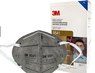 3M™【台灣工具】活性炭防颗粒物口罩 N95 一片裝 9541 耳掛式 防塵防沫防有機異臭味口罩 折疊式 防有機氣體