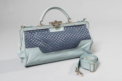 [二手品]Initial海藍色真皮拼接複合材質手提包,可側背