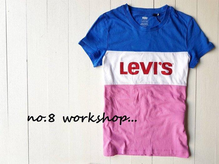 T☆【Levi s女生館】☆【Levi s三色拼接LOGO印圖短袖T恤】☆【LSG001A2】(XS-S-M-L)原價899 9/17到貨