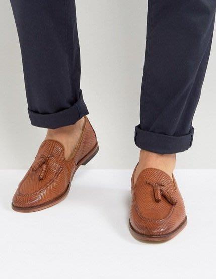 ◎美國代買◎ASOS齒狀皮編鞋面流蘇裝飾地中海風格雅痞氣質流蘇裝飾齒狀皮編樂福皮鞋~歐美街風~大尺碼~