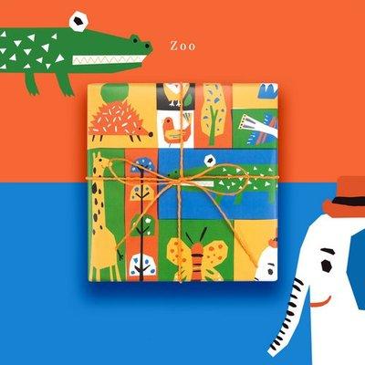 繽紛色彩設計包裝紙 兒童節小朋友生日禮物包裝紙包書紙動物園(五張)_☆優購好SoGood☆