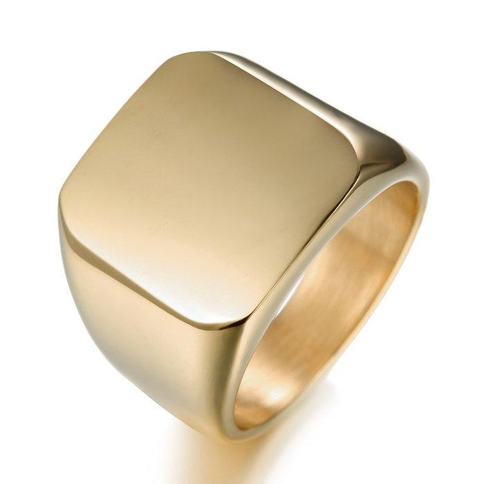【新款】戒指光面方形金色男士單身尾戒商務型男指環全時尚OL