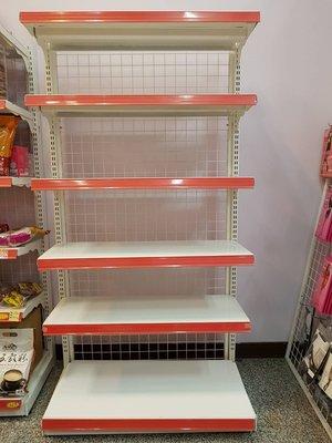 二手超市貨架 最後1座 單面(4 呎*6 呎 六層板) 陳列架/ 展示架/收納架/鐵架/置物架/層架/飾品架- 限自取