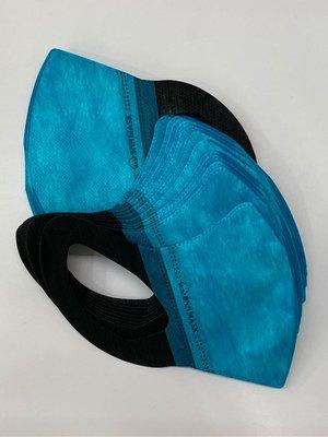 ☆大象屋☆Bnn 成人立體防護口罩3D藍綠配黑色雙色毛怪配色非醫療用口罩50入盒裝特價$480-箱O
