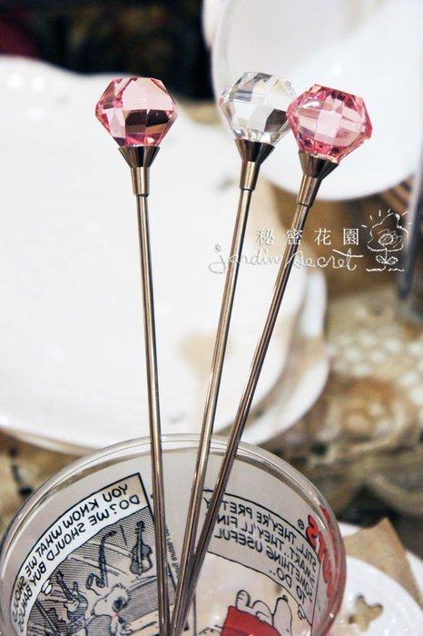 攪拌棒--進口華麗水晶寶石造型攪拌棒/調汁棒 /一組兩入--秘密花園