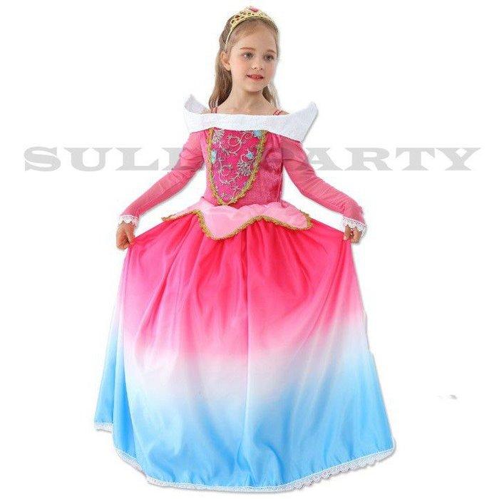 雪莉派對~漸色睡美人公主裙 萬聖節派對 聖誕節派對 兒童變裝 話劇表演 兒童睡美人 艾洛公主 愛洛公主