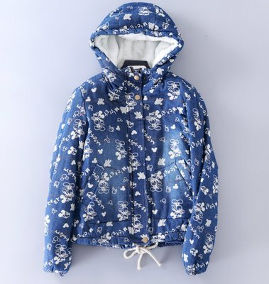 【Mi Ni】外單  米老鼠&米奇印花 絨毛內裡休閒連帽寬鬆夾克牛仔短外套~特價