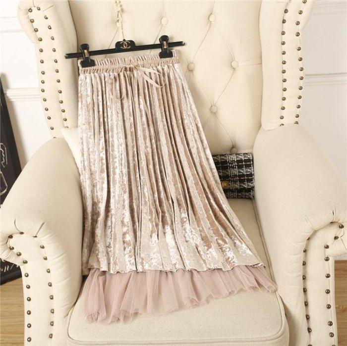 新款氣質甜美網紗系帶金絲絨半身裙中長款高腰仙女百褶裙子
