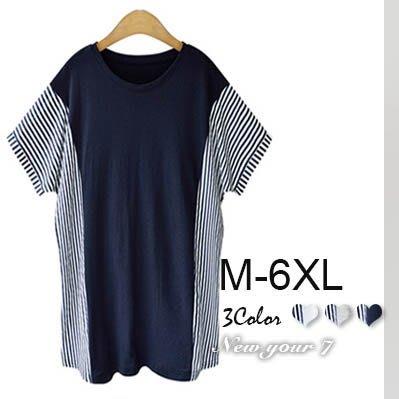 大尺碼 寬鬆條紋短袖上衣M-6XL【紐約七號】A8-010