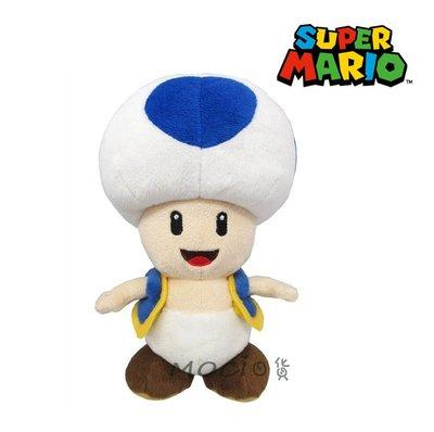 日本正版 超級瑪利歐 瑪莉兄弟 奇諾比奧 藍色香菇人 藍點香菇頭 娃娃 玩偶 公仔 玩具擺飾S【MOCI日貨】瑪莉歐