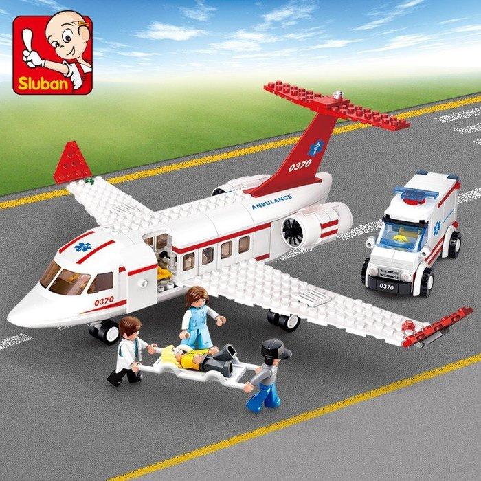 小魯班拼裝積木兒童益智塑膠拼裝積木玩具男孩紅色飛機組裝模型  #小兄弟&雜貨鋪# gujh 7845