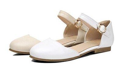 百搭休閒包頭涼鞋扣帶平底羅馬女涼鞋 白/米 34-39【no-44952464110】