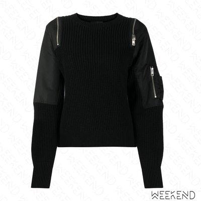 【WEEKEND】 DIESEL 異材質 拼接 拉鍊切割 露肩 上衣 黑色