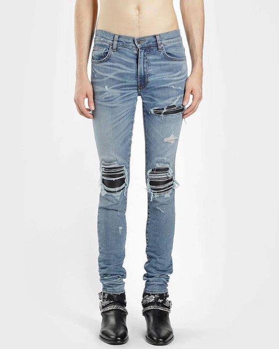 [ 羅崴森林 ] AMIRI SS19現貨LIGHT BLUE WASHED MX1 JEANS藍刷破鑲黑皮革彈力牛仔褲
