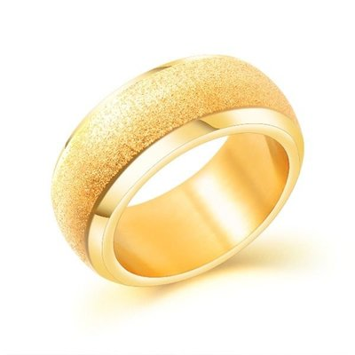 《 QBOX 》FASHION 飾品【R100N640】精緻個性粗曠簡約磨砂金色鈦鋼戒指/戒環