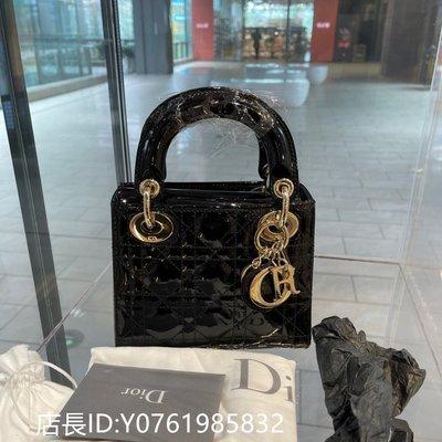 二手正品Dior 迪奧 迷妳 LADY DIOR 黑色漆皮牛皮革藤格紋 肩背包 戴妃包 M0505OWCB_M900