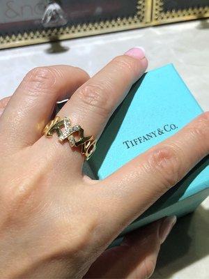 Tiffany &co.18k金帶鑽戒子