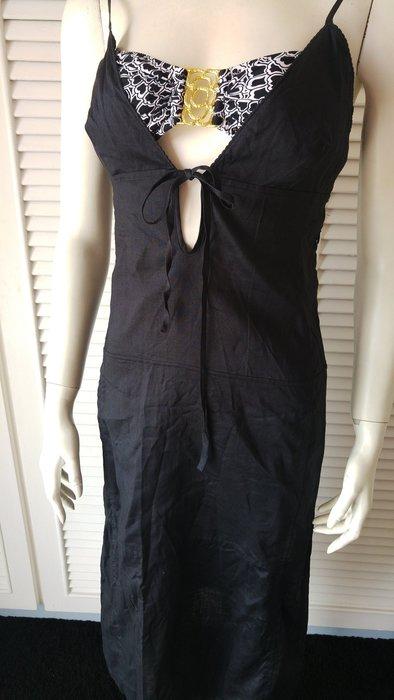 GFF 黑藏青色天然素材亞麻露背洋裝 (不含比基尼內搭)