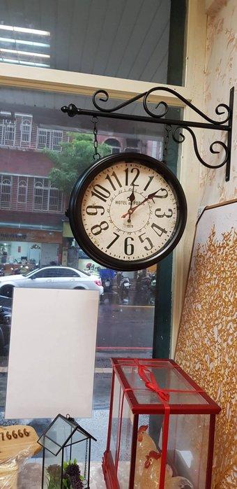 美式鐵藝掛鐘 工業風時鐘  鄉村風掛鐘  古典雙面鐘  雙面鐘
