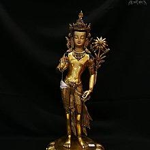 東來閣(紫氣東來)佛具用品 藏傳佛教密宗佛像 尼泊爾手工 紫銅鎏金 65釐米 站立 綠度母像 nbe666