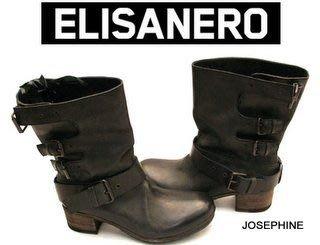 喬瑟芬【ELISANERO】特價$20900含運~黑色 刷仿舊處理 鐵釦粗跟帥氣 手工靴/騎士靴