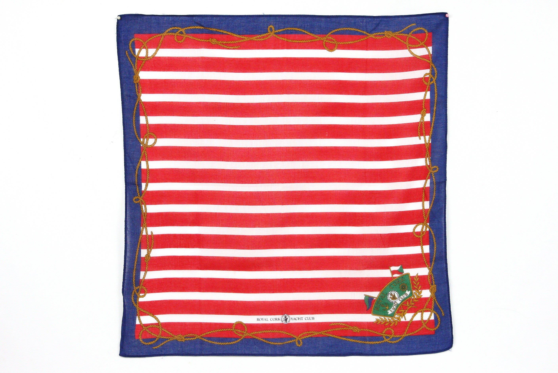 【古物箱~霹靂膠囊】愛爾蘭 ROYAL CORK 皇家遊艇俱樂部 英式 紳士 時尚 印花 領巾 (二手 古著 老件)