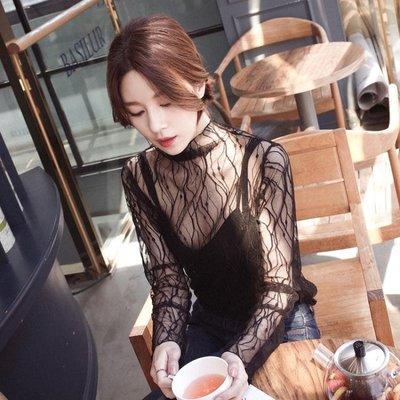 性感蕾絲打底衫女長袖紗衣新款透明透視內搭高領網紗上衣薄紗