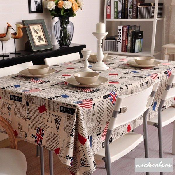 尼克卡樂斯~小國旗版棉麻桌巾—loft 美式風桌巾 餐桌布 餐桌墊 茶几墊 茶几桌布 鄉村風 英倫風 北歐風 地中海風