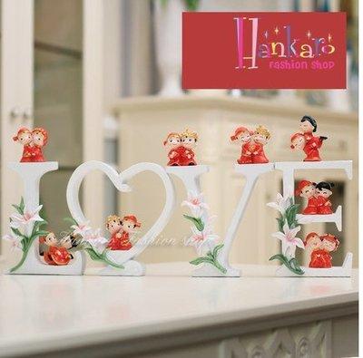☆[Hankaro]☆ 婚慶系列商品LOVE新人公仔精緻浪漫婚禮擺飾新婚禮品