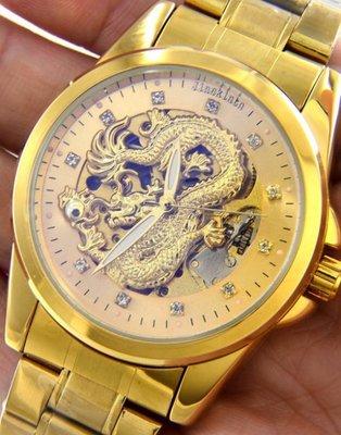 超大錶徑4.2公分.黃金神龍.JINSKINTN自動上鍊機械錶