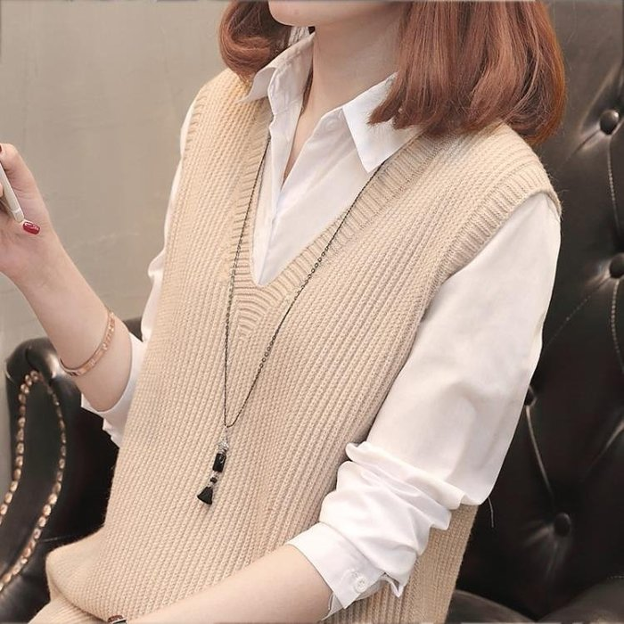 針織背心 針織馬甲女背心秋冬中長款V領韓版寬鬆新款無袖毛衣坎肩外套