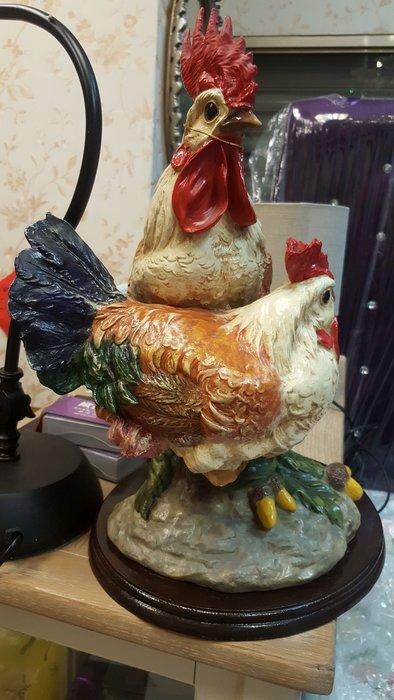 鄉村風全家福雞 帶路雞 水晶公母雞帶小雞  結婚擺飾  佈置家庭