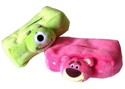 【卡漫迷】 面紙套 二款選一 ㊣版怪獸大學 Toy Story 絨毛 面紙盒 車用 抽取式 桌上型 大眼仔 熊抱哥
