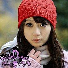 (特價)針織波蘿帽 紅色 白色