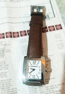 名牌二手錶MONTBLANC萬寶龍經典款皮革錶帶女錶便宜賣-8.5成新