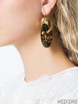 【WEEKEND】 ELLERY 黃銅 圓圈 雙只 一對 大款 耳環 金色