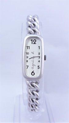 【Jessica潔西卡小舖】日本艾格尼絲 agnes b.細方形經典石英錶