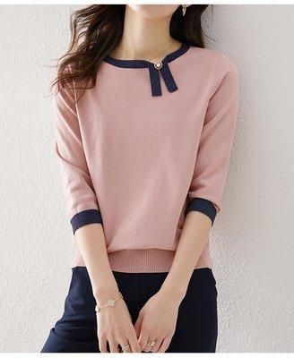 YOHO 短袖上衣 (HH033280) 春夏新品撞色銀葱七分袖針織衫 寬鬆 有3色