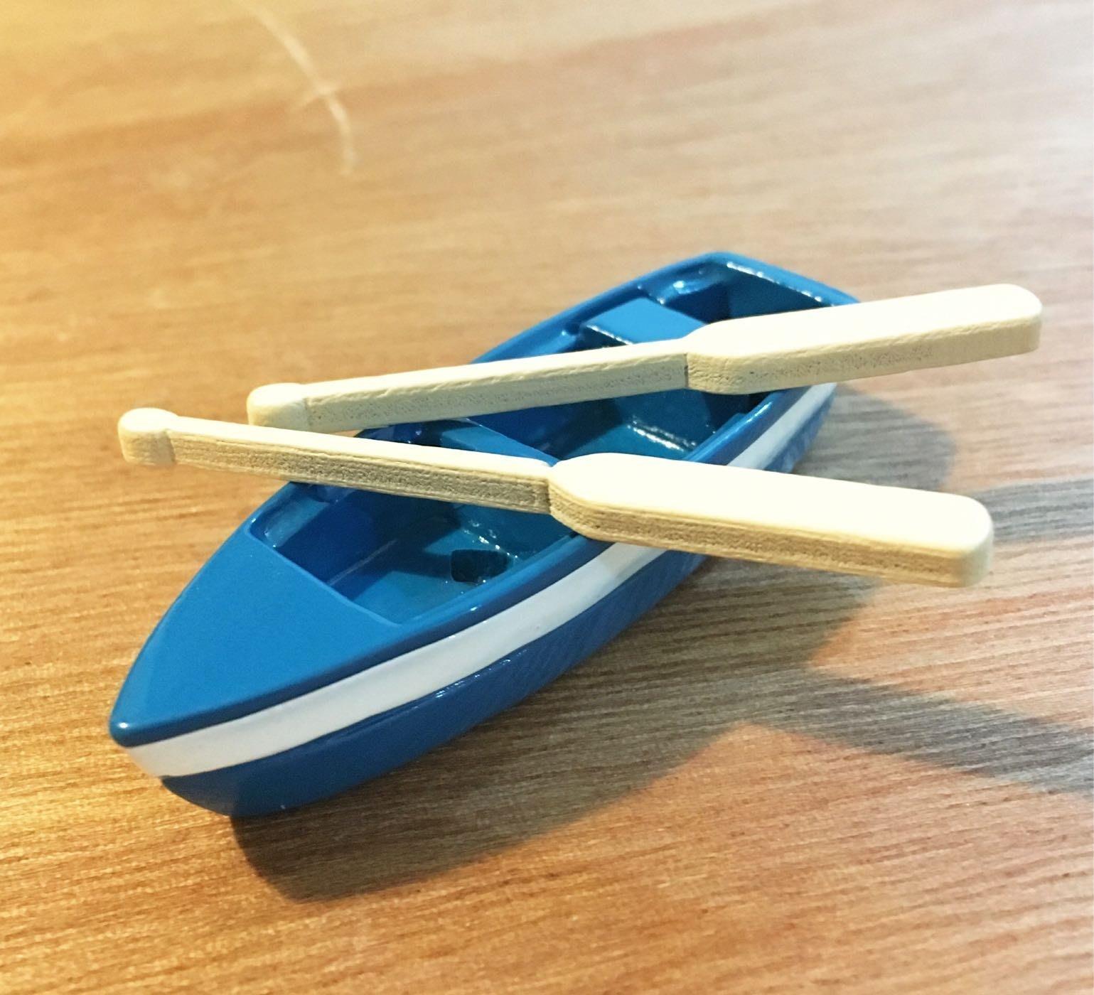迷你藍色小船附划槳@多肉植物盆栽裝飾攝影場景