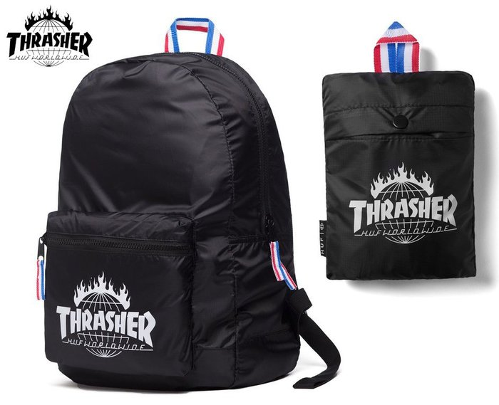 【超搶手】 全新正品 美牌 聯名 HUF x THRASHER TDS PACKABLE BACKPACK收納尼龍後背包