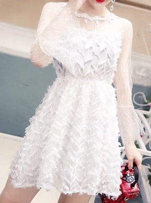 2017秋季韓版新款時尚潮流女裝名媛氣質毛毛透視喇叭袖收腰連身裙