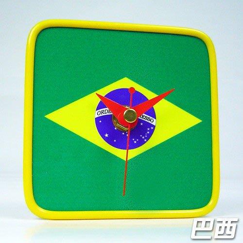 【衝浪小胖】巴西國旗/膠框桌鐘/掛鐘/機芯/指針/Brazial/各國家款式都有賣/手工製造