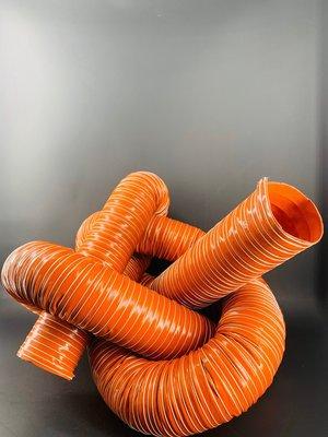 12吋雙層矽膠風管/矽膠玻璃纖維布風管/紅色硅膠通風管/工廠進排氣耐高溫熱風管/熱炒小吃排風管/排煙管阻燃通風管